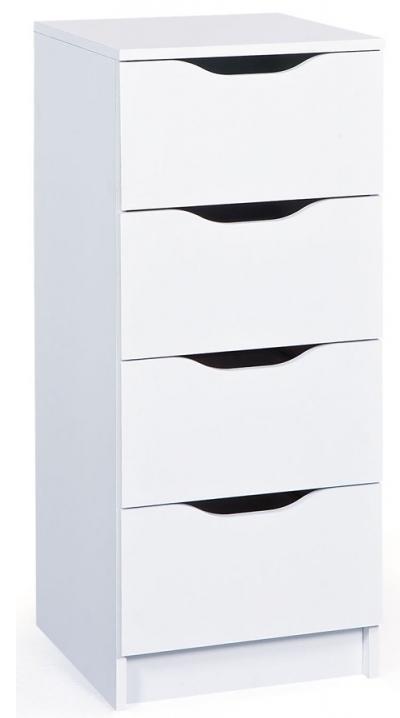 chiffonnier 4 tiroirs blanc bakus. Black Bedroom Furniture Sets. Home Design Ideas