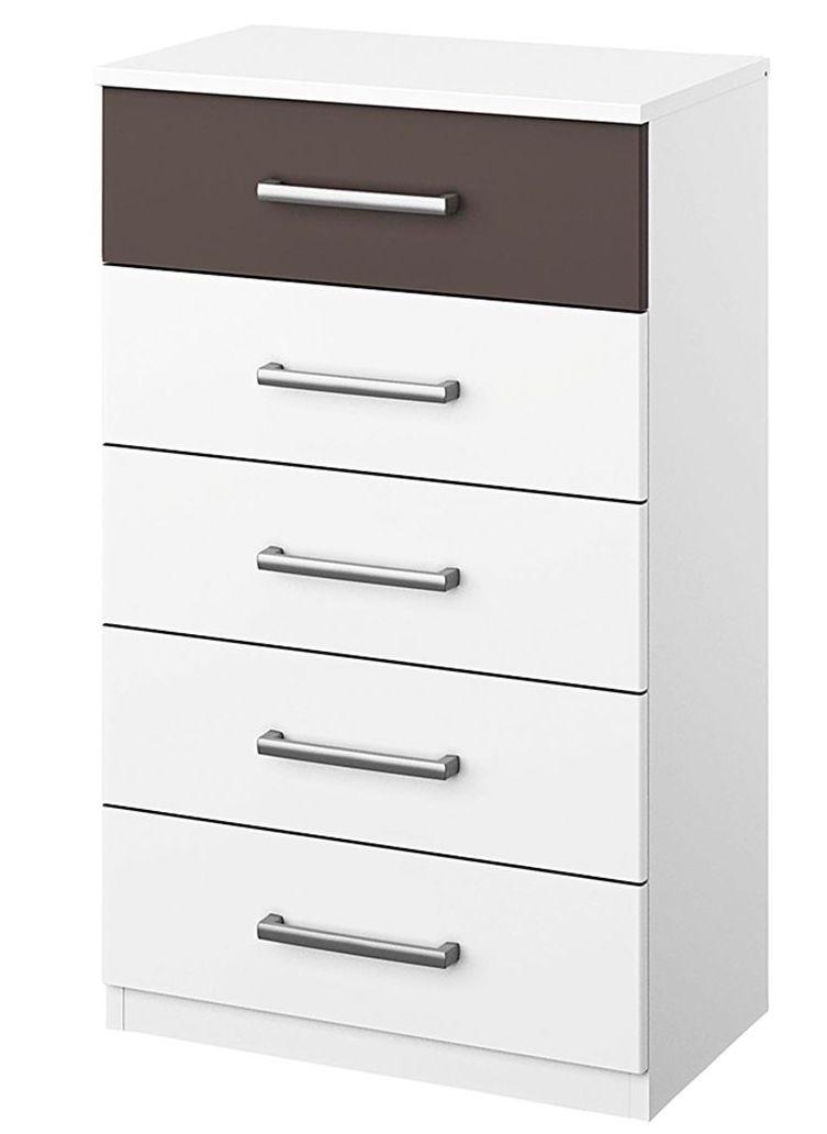chiffonnier 5 tiroirs blanc et marron mat madrid. Black Bedroom Furniture Sets. Home Design Ideas