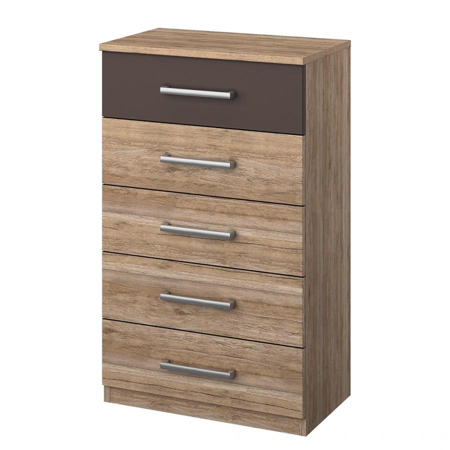 chiffonnier 5 tiroirs ch ne de san remo et gris lave madrid. Black Bedroom Furniture Sets. Home Design Ideas