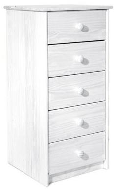 chiffonnier blanc pin massif 5 tiroirs bea. Black Bedroom Furniture Sets. Home Design Ideas