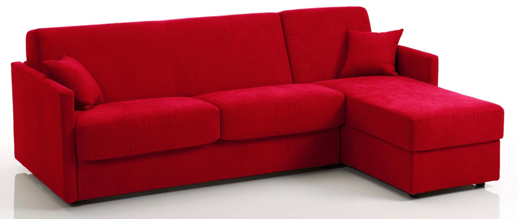 Canap d angle convertible tissu rouge cika mod le 3 - Canape d angle rouge ...