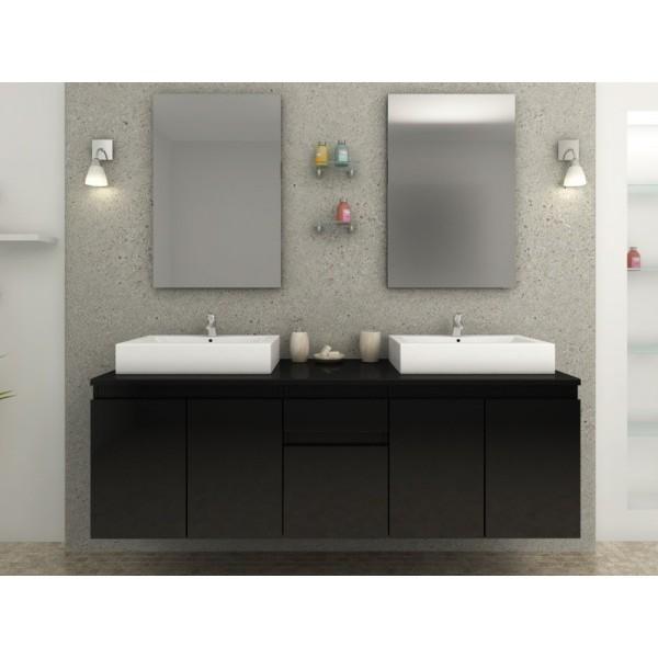 meuble de salle de bain noir laqu olivera. Black Bedroom Furniture Sets. Home Design Ideas