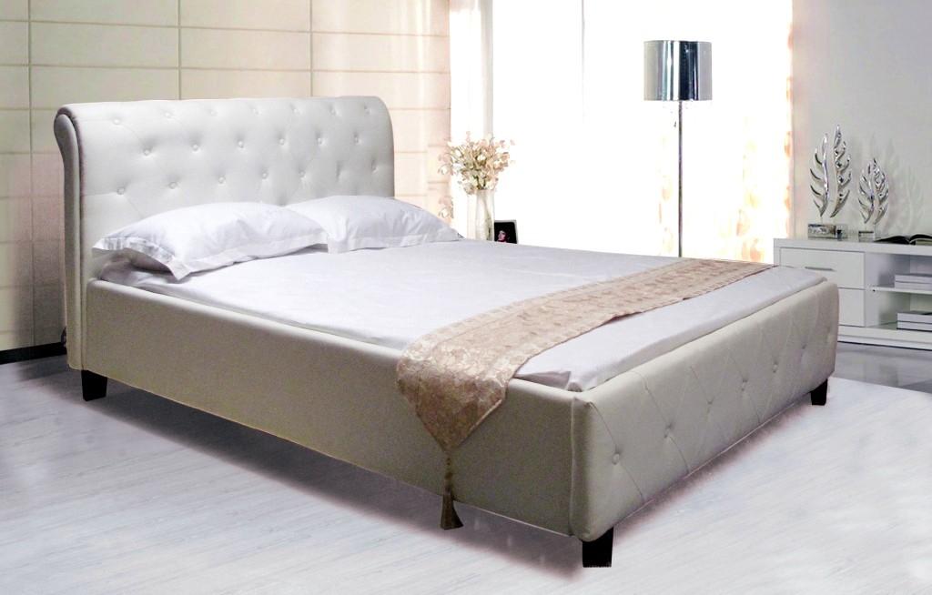 lit simili blanc style baroque 140. Black Bedroom Furniture Sets. Home Design Ideas
