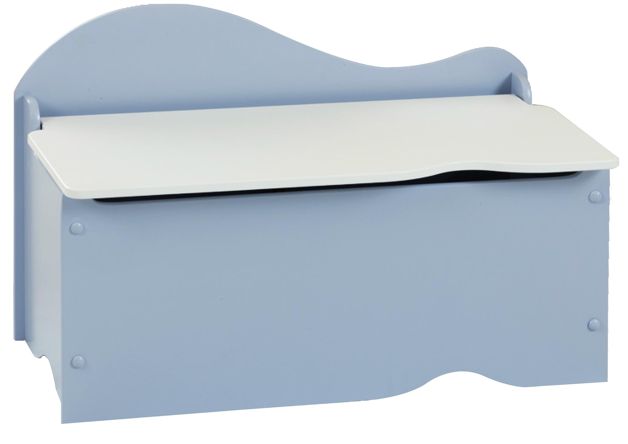 coffre de rangement bleu couvercle blanc spoon. Black Bedroom Furniture Sets. Home Design Ideas
