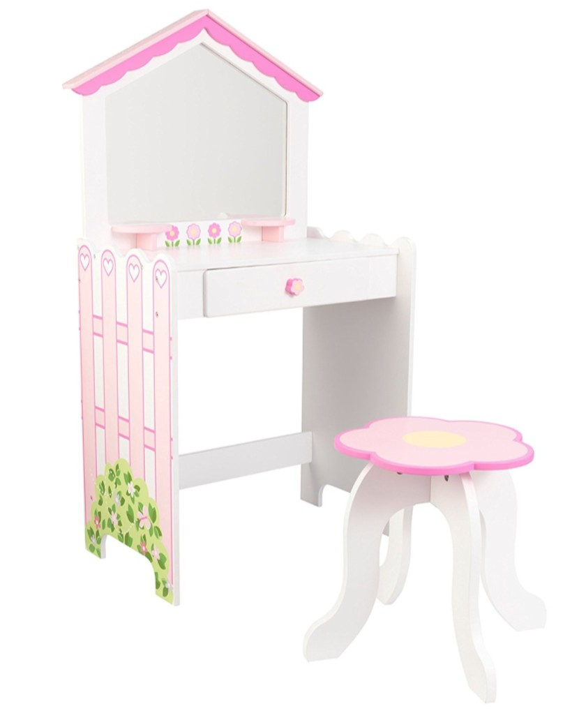 coiffeuse et tabouret maison de poup es kidkraft 13035. Black Bedroom Furniture Sets. Home Design Ideas