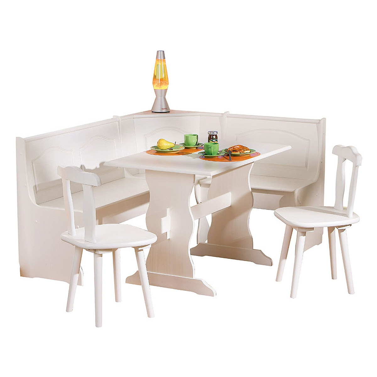 Coin repas blanc pin massif donau for Table cuisine en pin