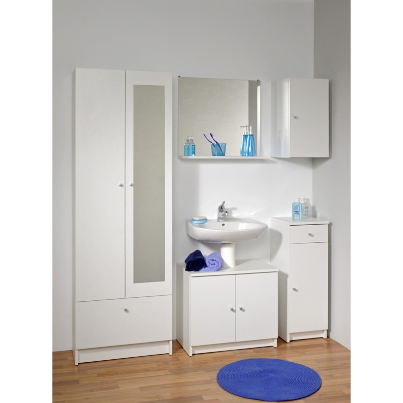 Colonne 2 portes blanc flash for Meuble colonne salle de bain 2 portes