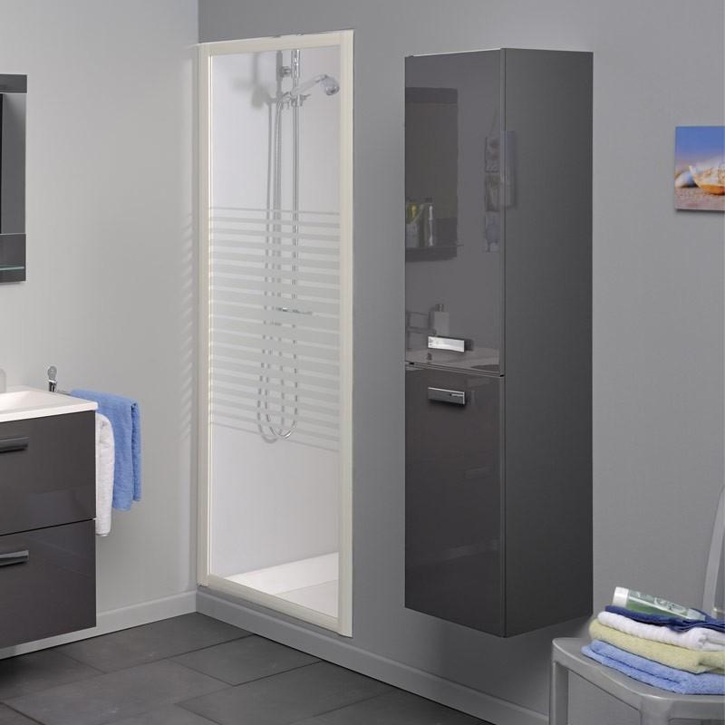 Colonne 2 portes grise laqu e luxy for Colonne de salle de bain grise