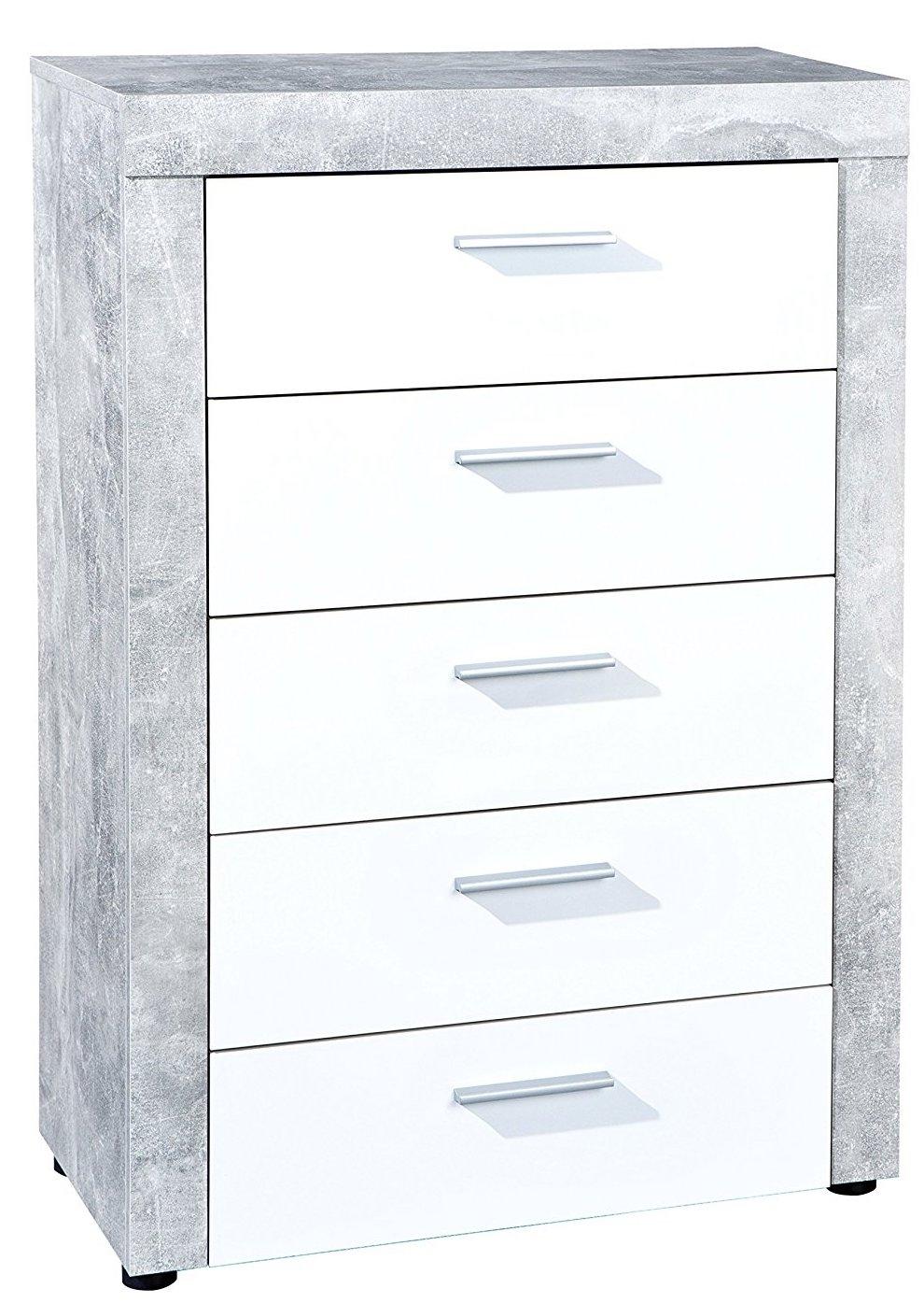 commode 5 tiroirs aspect b ton et blanc bonnie. Black Bedroom Furniture Sets. Home Design Ideas