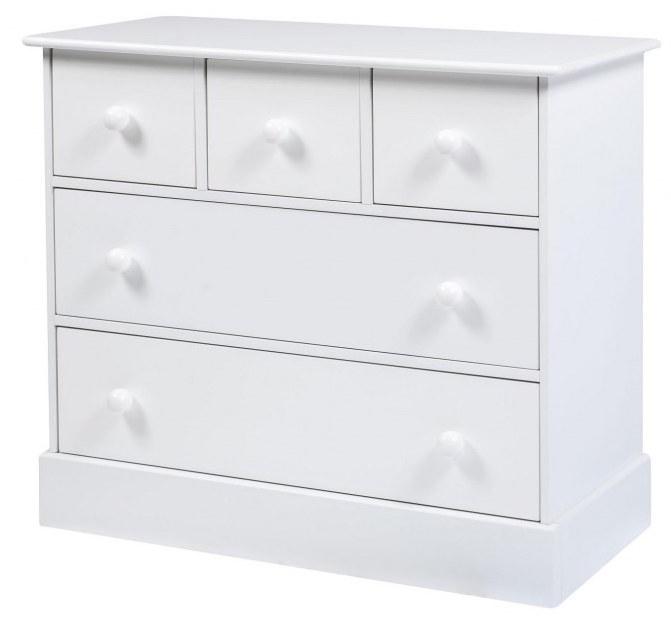 Commode 5 tiroirs bois laqué blanc Acapulco | LesTendances.fr