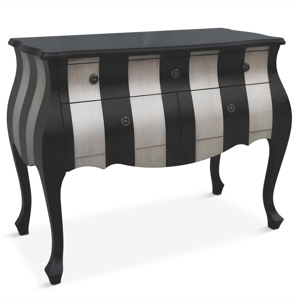 commode 5 tiroirs noir et argent lola. Black Bedroom Furniture Sets. Home Design Ideas
