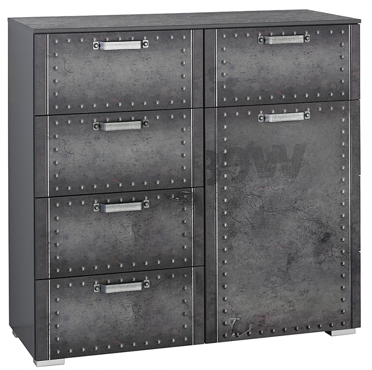 commode 5 tiroirs 1 porte style industriel graphite work. Black Bedroom Furniture Sets. Home Design Ideas