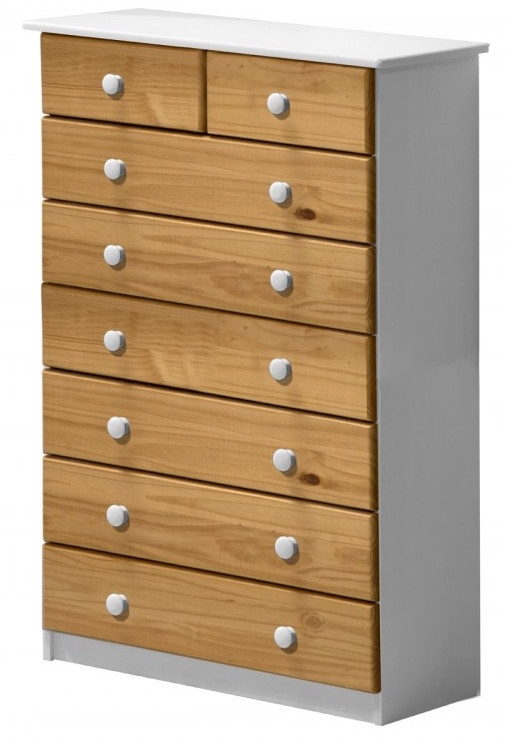 commode 6 2 pin massif blanc et miel aladin. Black Bedroom Furniture Sets. Home Design Ideas