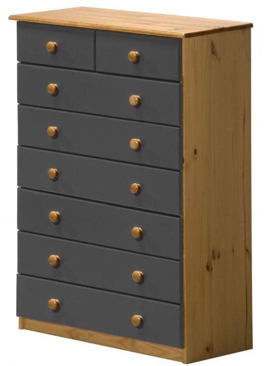 commode 6 2 pin massif miel et gris aladin. Black Bedroom Furniture Sets. Home Design Ideas
