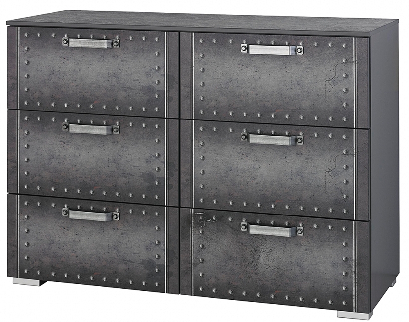 commode 6 tiroirs style industriel graphite work. Black Bedroom Furniture Sets. Home Design Ideas