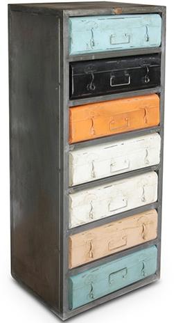 commode 7 tiroirs multicolore m tal vielli. Black Bedroom Furniture Sets. Home Design Ideas