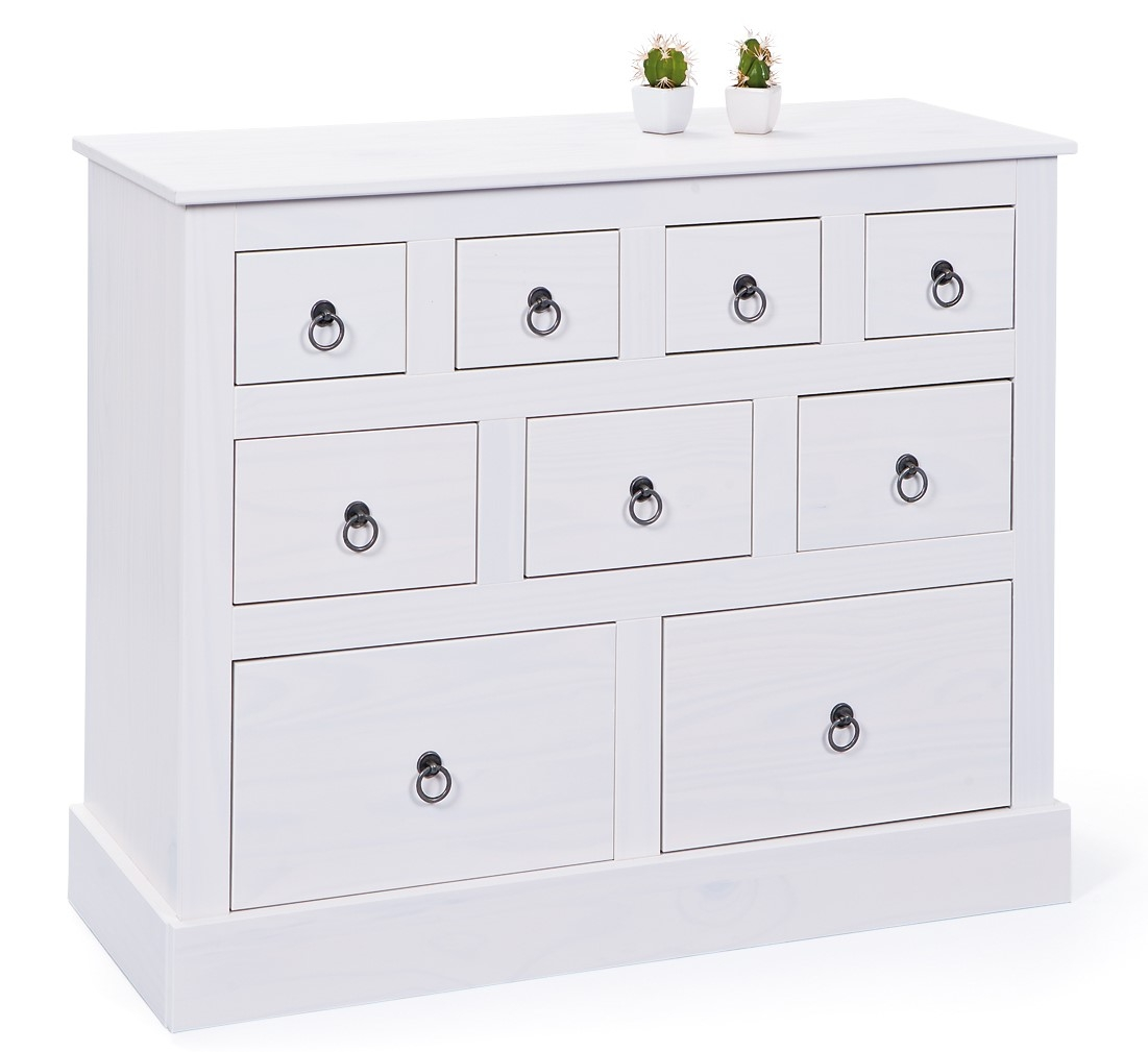 commode 9 tiroirs en pin massif blanc prince. Black Bedroom Furniture Sets. Home Design Ideas