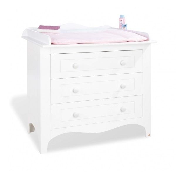 commode langer bois massif blanc fleur pinolino 133472b. Black Bedroom Furniture Sets. Home Design Ideas