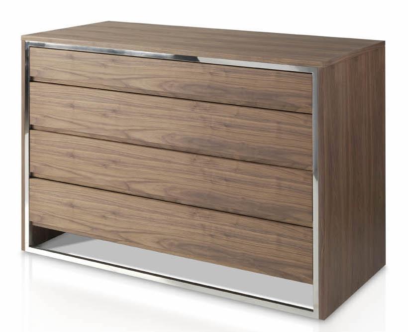 commode 4 tiroirs bois noyer et acier inoxydable donka. Black Bedroom Furniture Sets. Home Design Ideas
