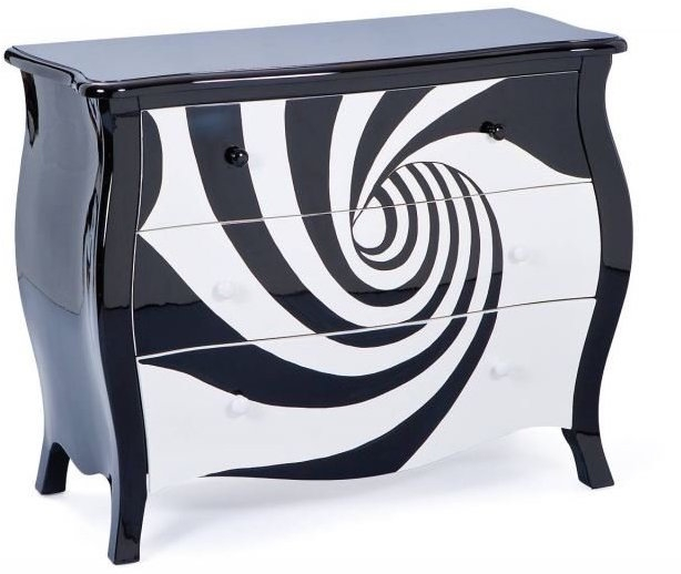 commode baroque 3 tiroirs noir et blanc zebra. Black Bedroom Furniture Sets. Home Design Ideas