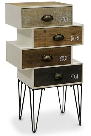 commode bois et m tal originale 4 tiroirs. Black Bedroom Furniture Sets. Home Design Ideas