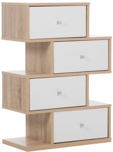 commode design 4 tiroirs bois clair et blanc leslie. Black Bedroom Furniture Sets. Home Design Ideas