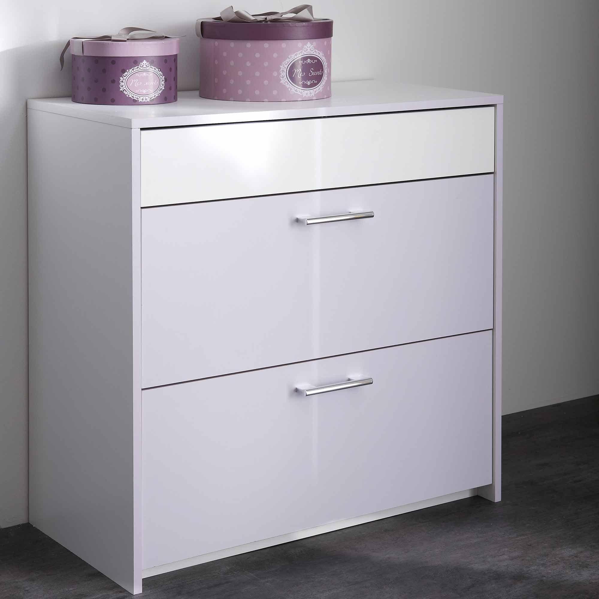commode en bois blanc et parme mina. Black Bedroom Furniture Sets. Home Design Ideas