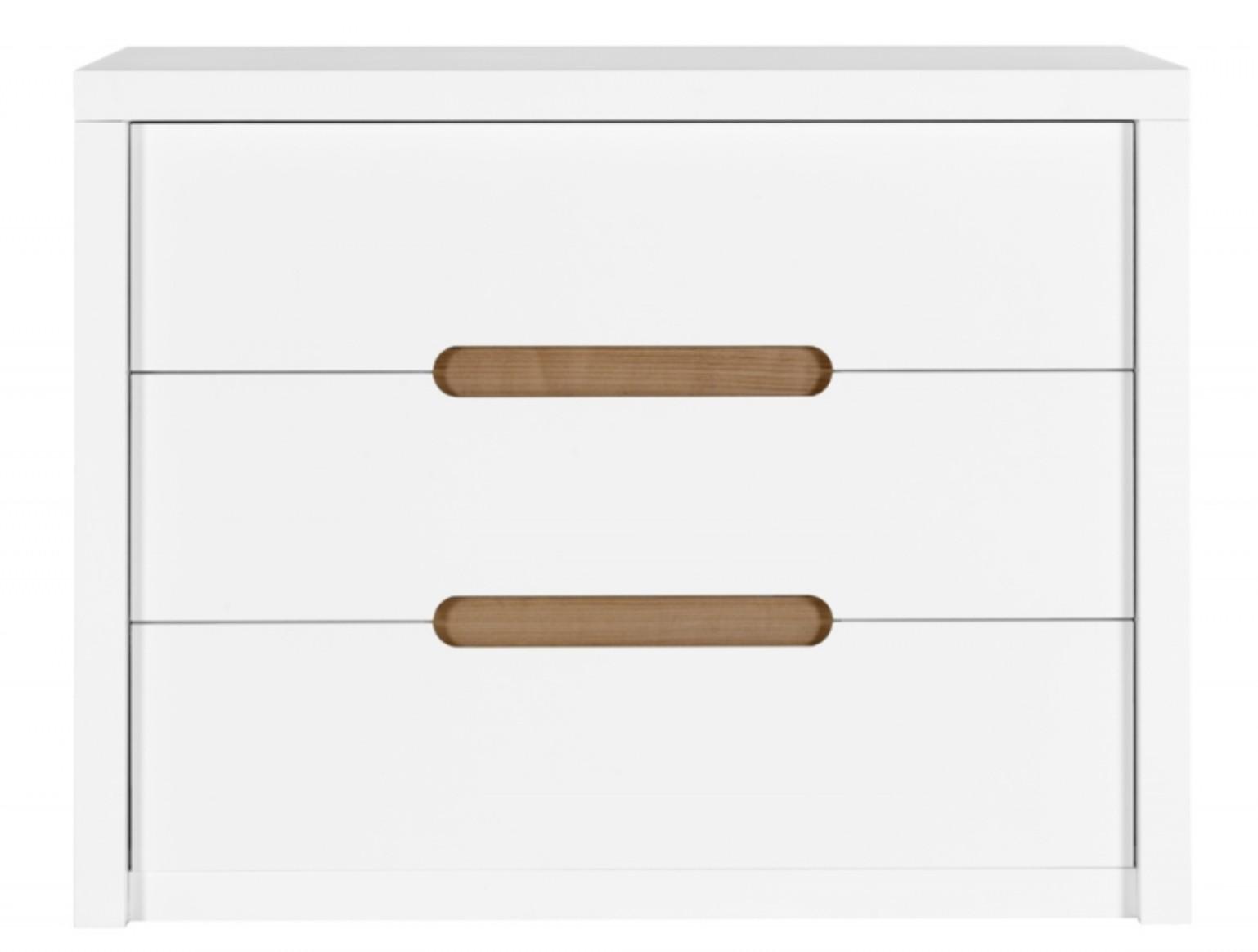 commode enfant 3 tiroirs blanche et bois clair milo. Black Bedroom Furniture Sets. Home Design Ideas