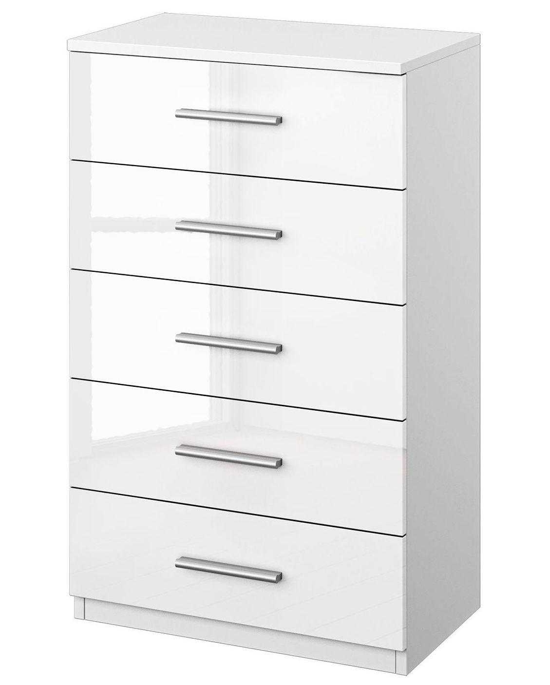 commode haute 5 tiroirs blanc brillant bello. Black Bedroom Furniture Sets. Home Design Ideas
