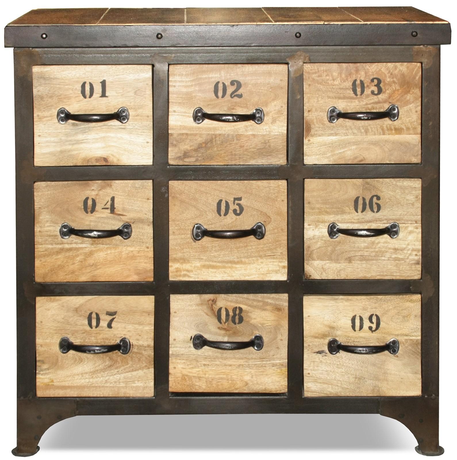 commode style industriel 9 tiroirs bois clair et m tal dinah. Black Bedroom Furniture Sets. Home Design Ideas