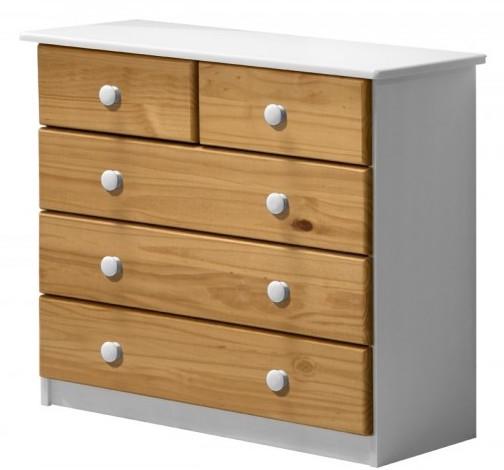 commode 3 2 pin massif blanc lasure et miel aladin. Black Bedroom Furniture Sets. Home Design Ideas