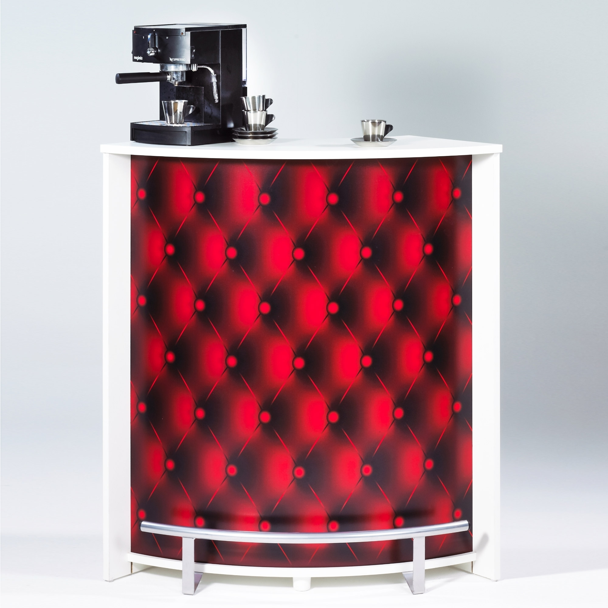 comptoir de bar blanc capiton rouge visio. Black Bedroom Furniture Sets. Home Design Ideas