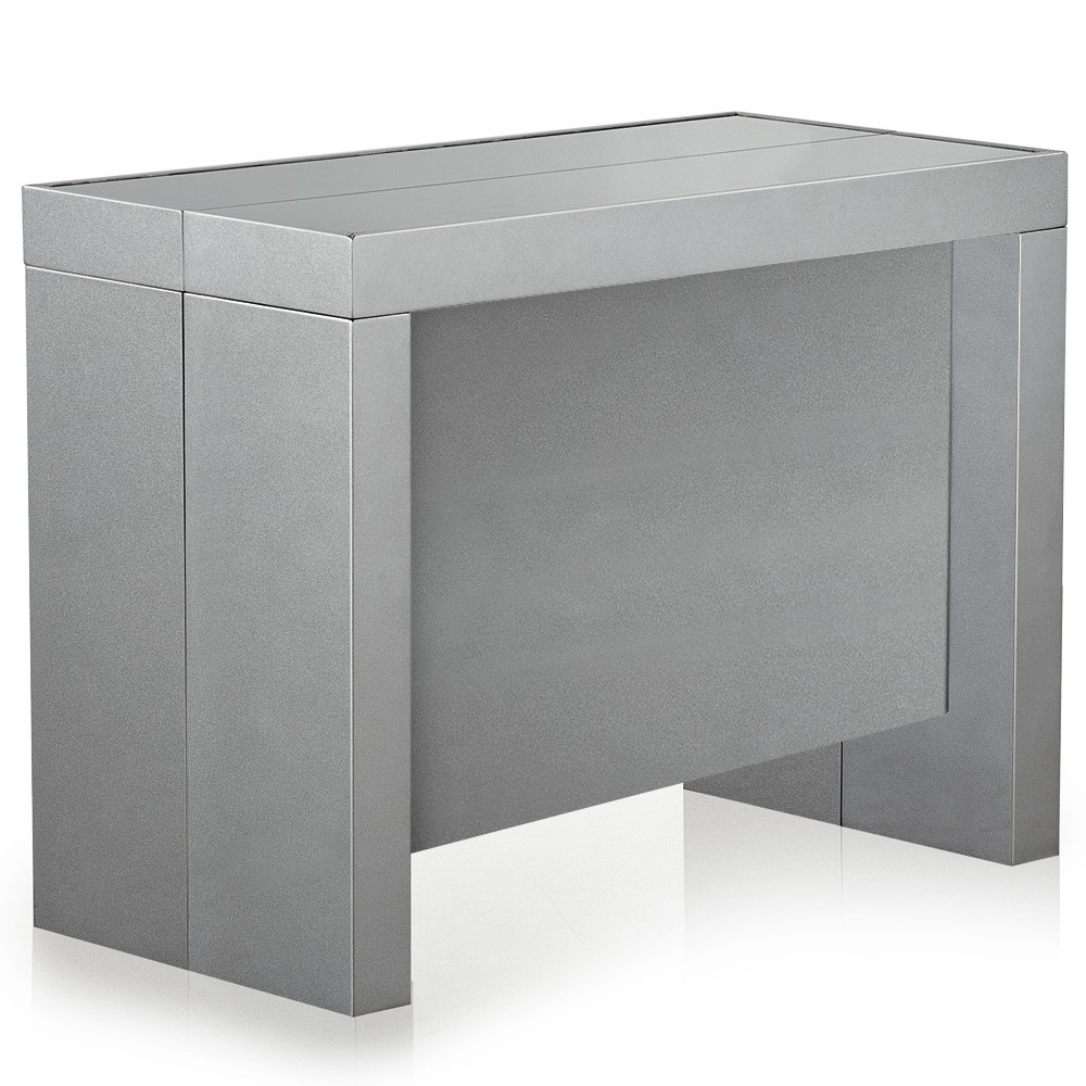 Table console extensible gris satin 50 250 cm 12 for Table extensible gris et bois
