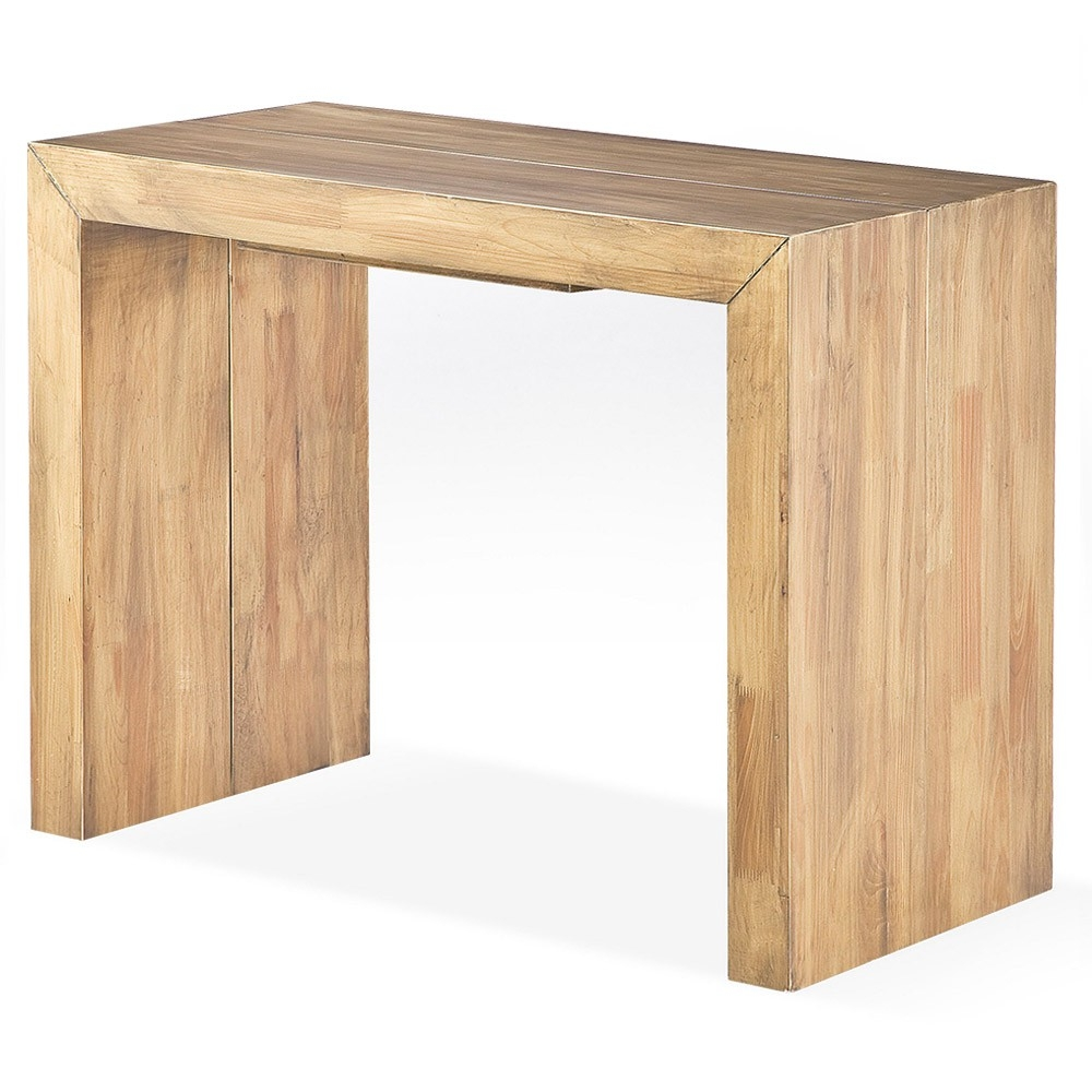 Console extensible bois massif capuccino 50 250 cm 12 for Table extensible en largeur