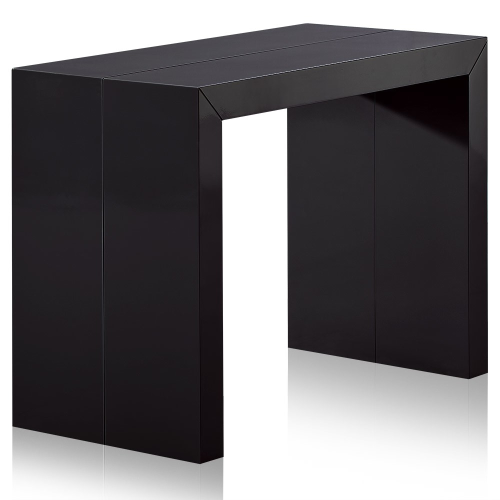 table console extensible bois noir carbone 50 200 cm 10 personnes. Black Bedroom Furniture Sets. Home Design Ideas