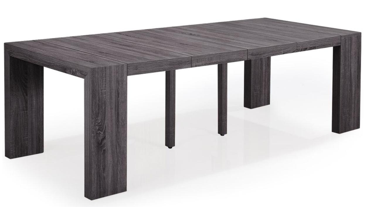 Table console extensible bois vintage 50 250 cm 12 for Table extensible jusqu a 12 personnes
