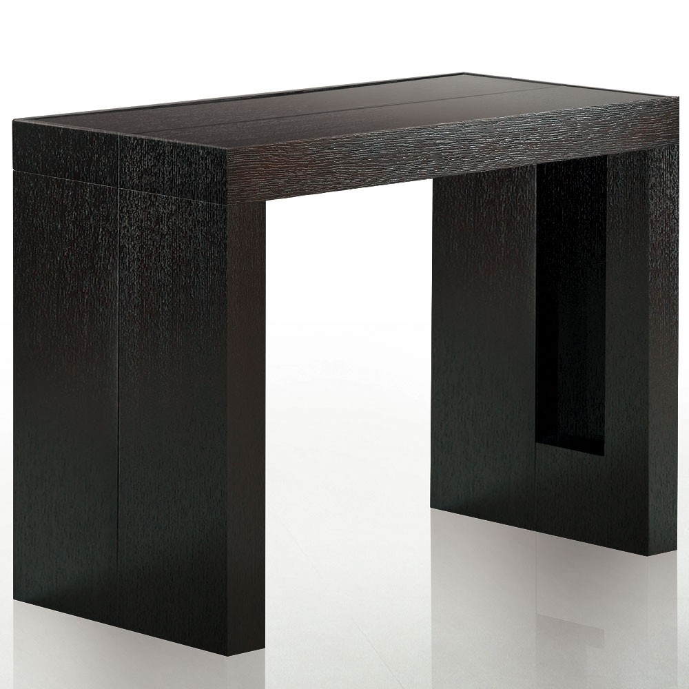Console extensible bois weng 12 places for Table salle a manger wenge but