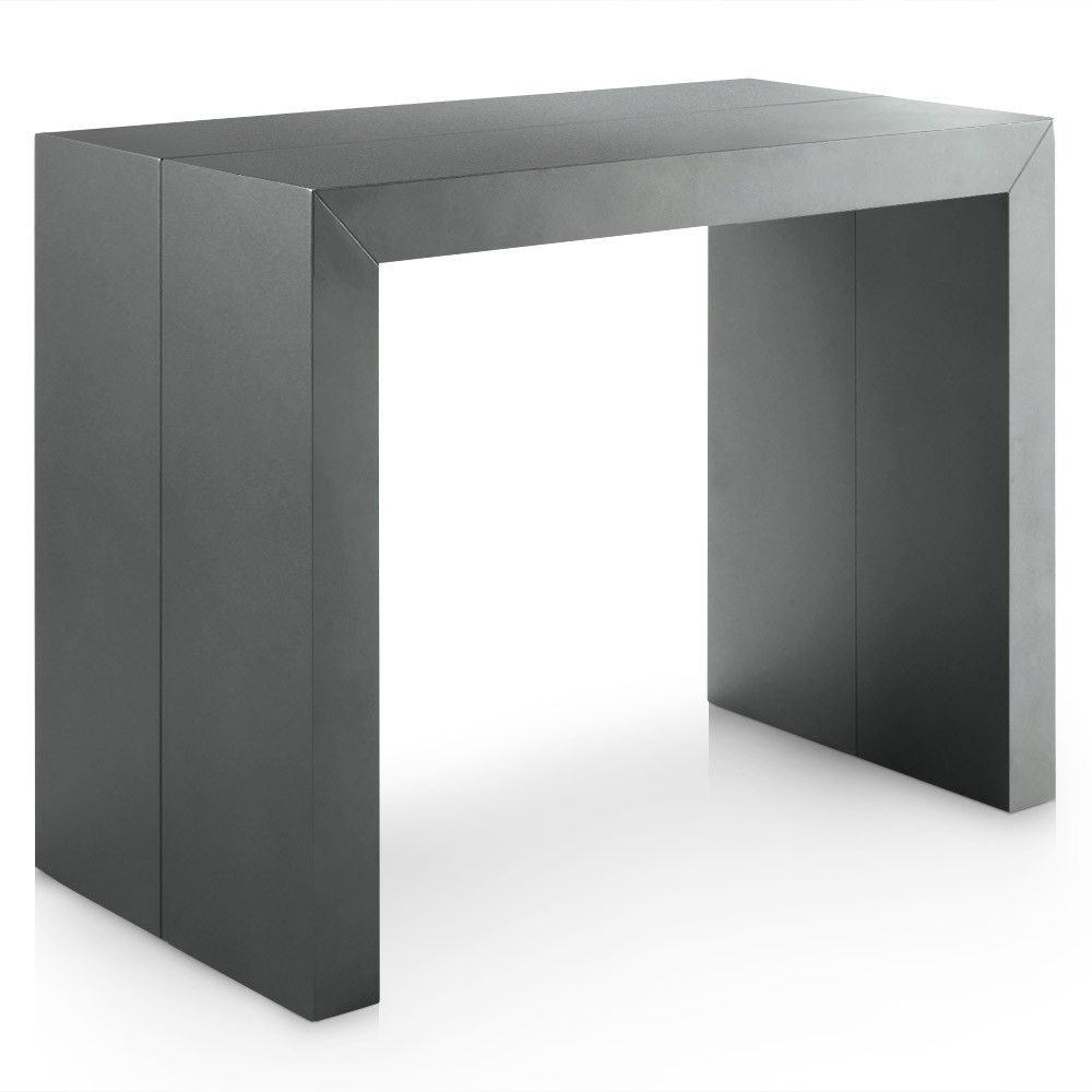 Table console extensible bois gris satin 50 200 cm 10 - Table console extensible personnes ...