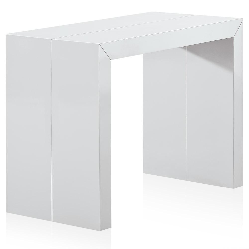 Console extensible laqu e blanc 50 250 cm 12 personnes - Console laquee blanc ...