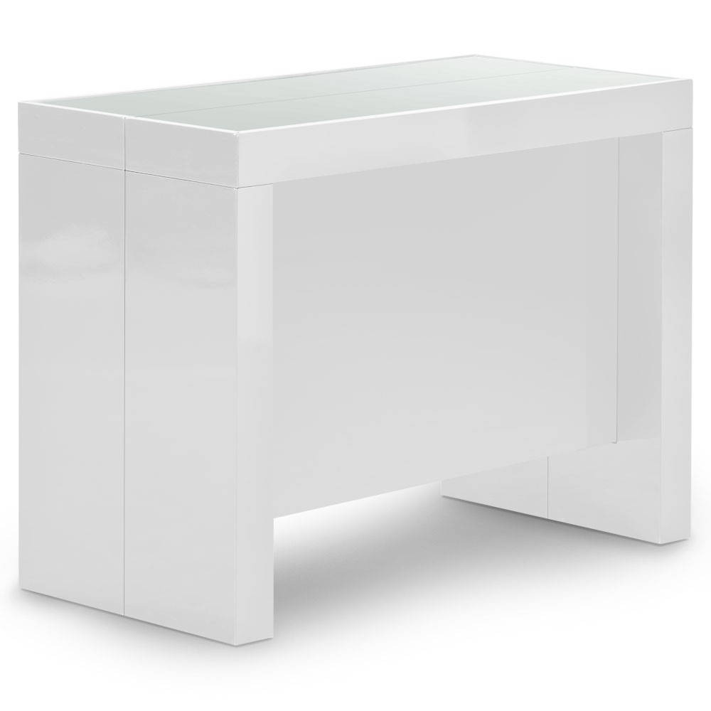 Table console extensible laqu e blanc 50 250 cm 12 for Table blanche extensible 12 personnes