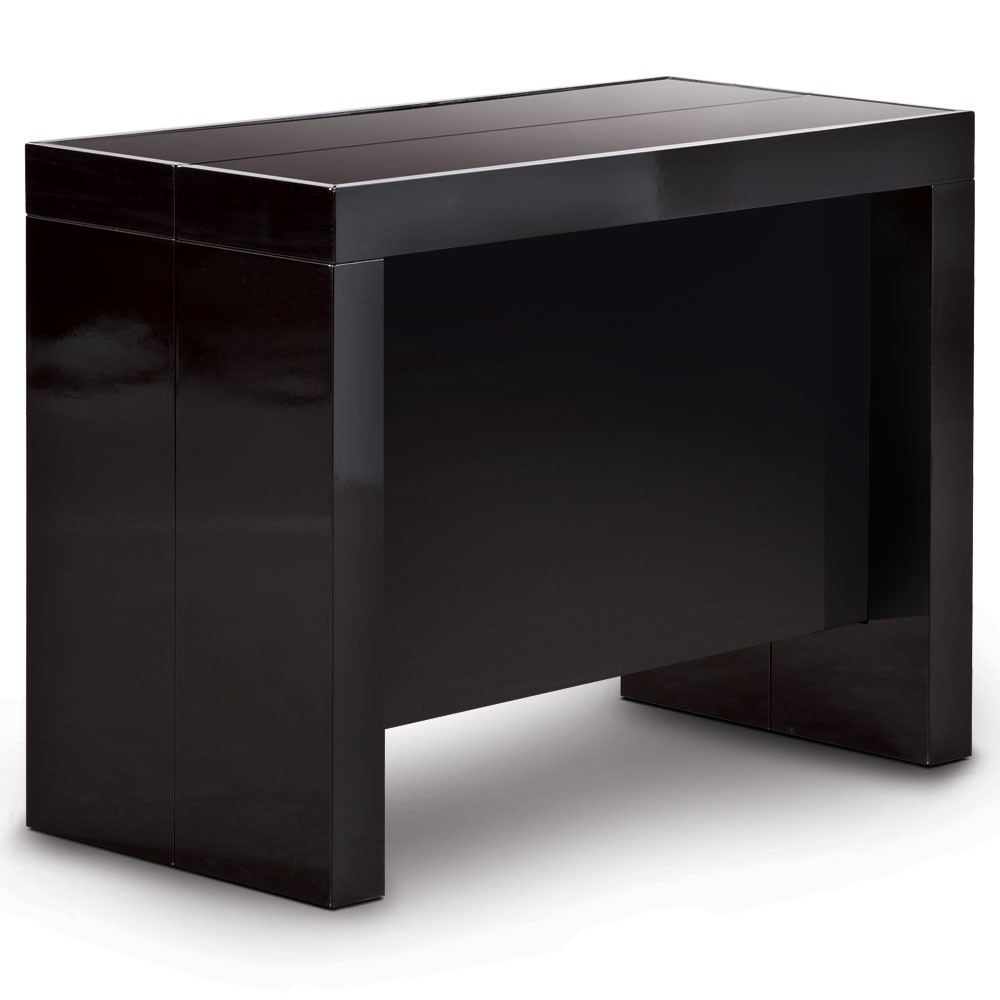 Table console extensible noir laqu 50 250 cm 12 - Table extensible laquee ...