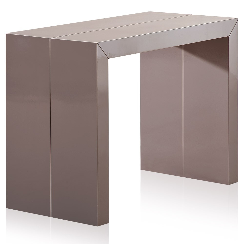 table console extensible laqu e taupe 50 200 cm 10. Black Bedroom Furniture Sets. Home Design Ideas