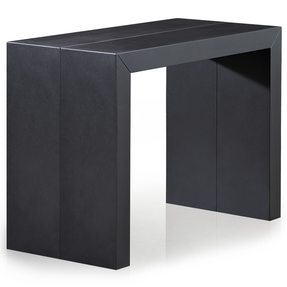 Table console extensible noir carbone 50 250 cm 12 - Table console extensible personnes ...