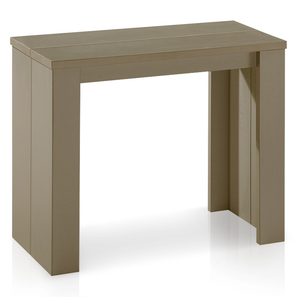 Console extensible taupe kunz 40 190 cm 10 personnes - Console extensible taupe ...