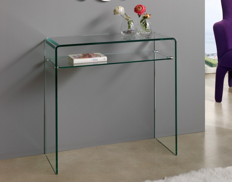 console moderne verre transparent julia. Black Bedroom Furniture Sets. Home Design Ideas