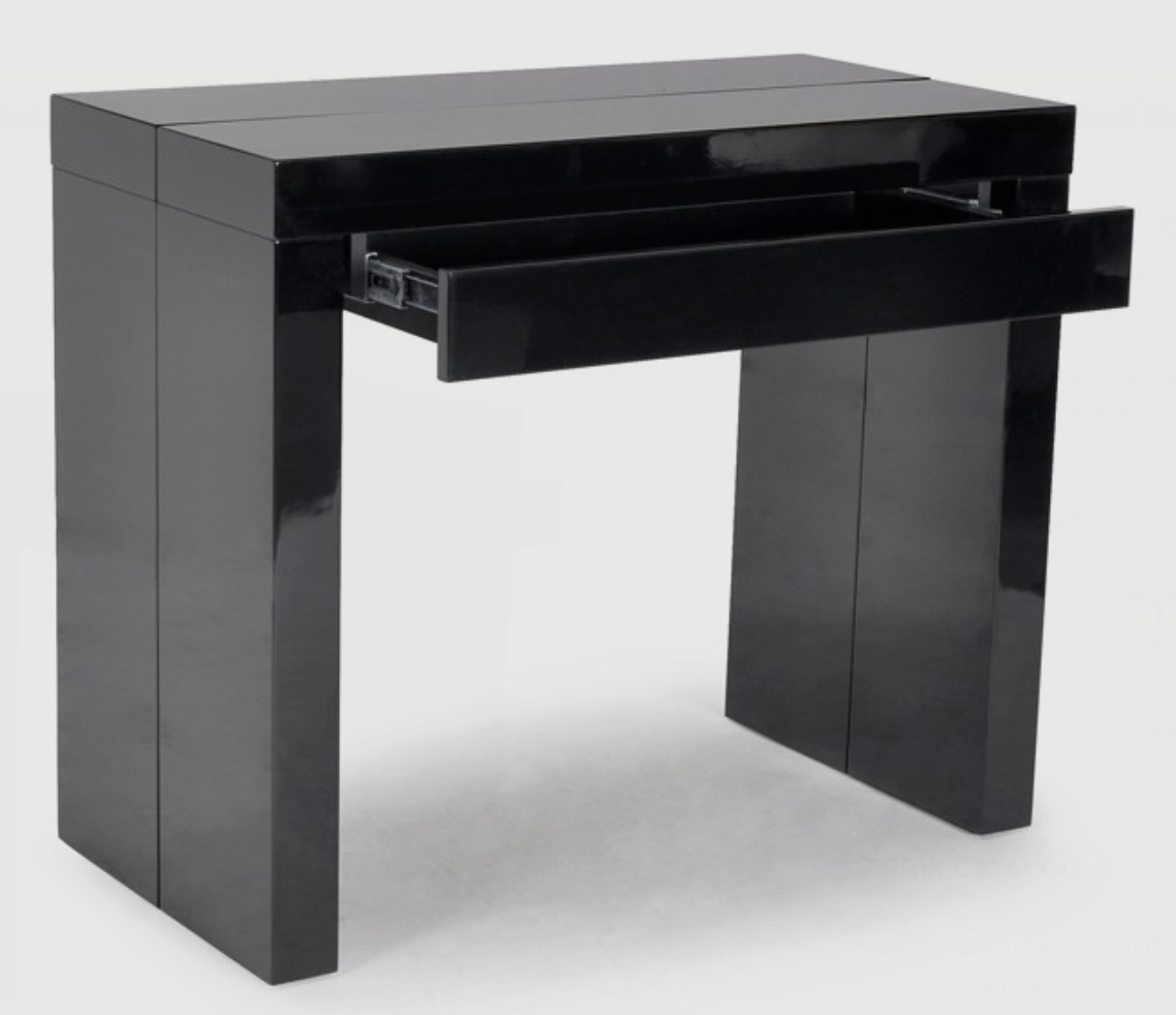 console noire avec 1 tiroir 3 allonges algo3. Black Bedroom Furniture Sets. Home Design Ideas