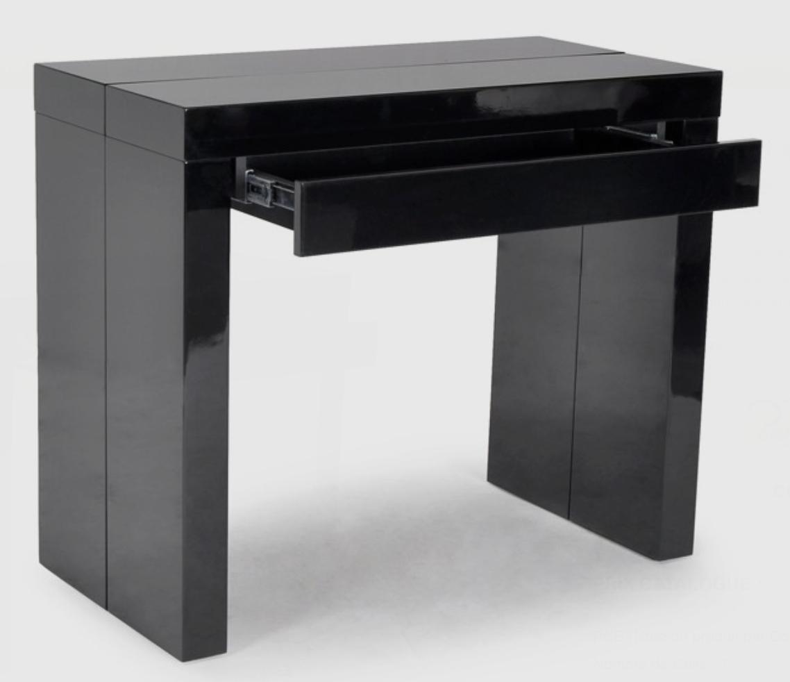 Console noire avec 1 tiroir 3 allonges algo3 - Table console extensible noir ...