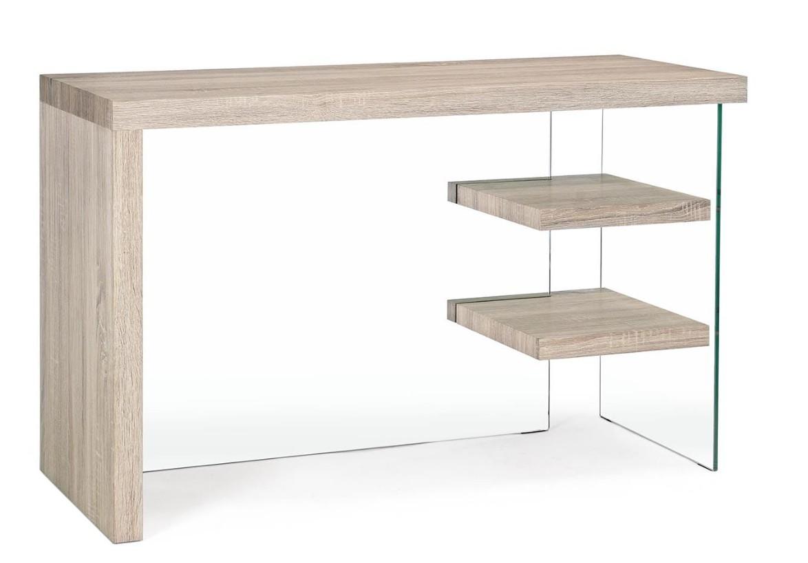 console originale verre tremp et veinage naturel kozy. Black Bedroom Furniture Sets. Home Design Ideas