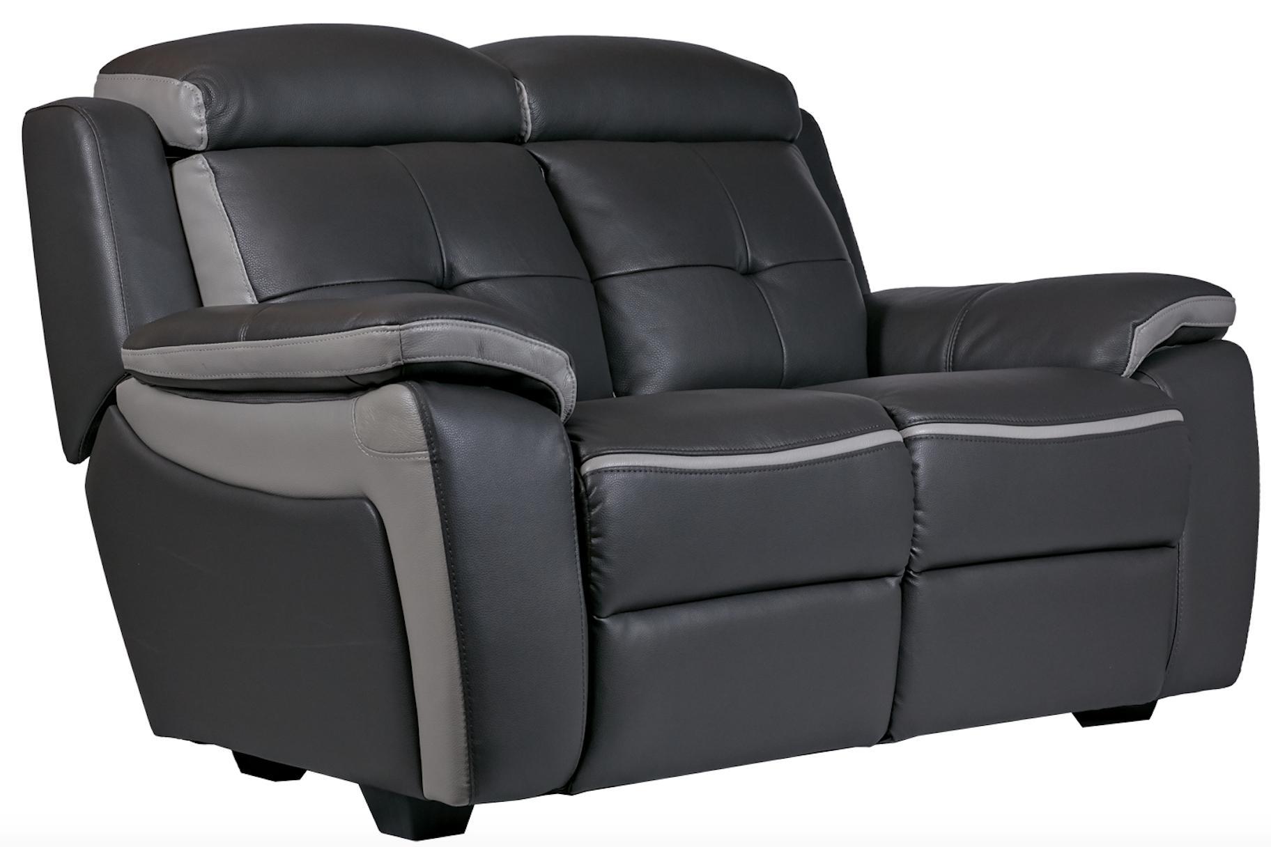 canap 2 places cuir gris fonc et gris corsa. Black Bedroom Furniture Sets. Home Design Ideas