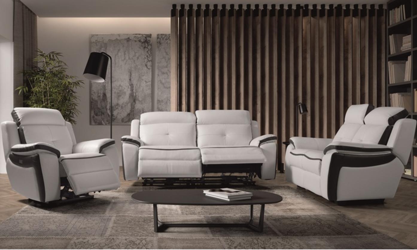 ensemble canap de relaxation 1 et 3 places lectrique cuir banc et gris corsa. Black Bedroom Furniture Sets. Home Design Ideas